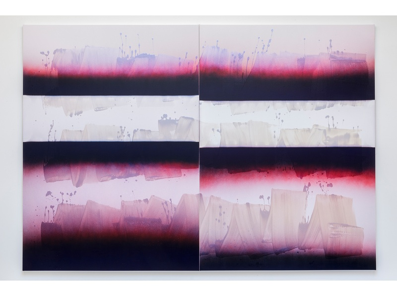 Nathan Hylden, Untitled, 2015, 94 by 135 inches (in two panels, each panel 94 by 67.5 inches), acrylic and polyurethane on canvas. Photo courtesy of © JWPictures.com
