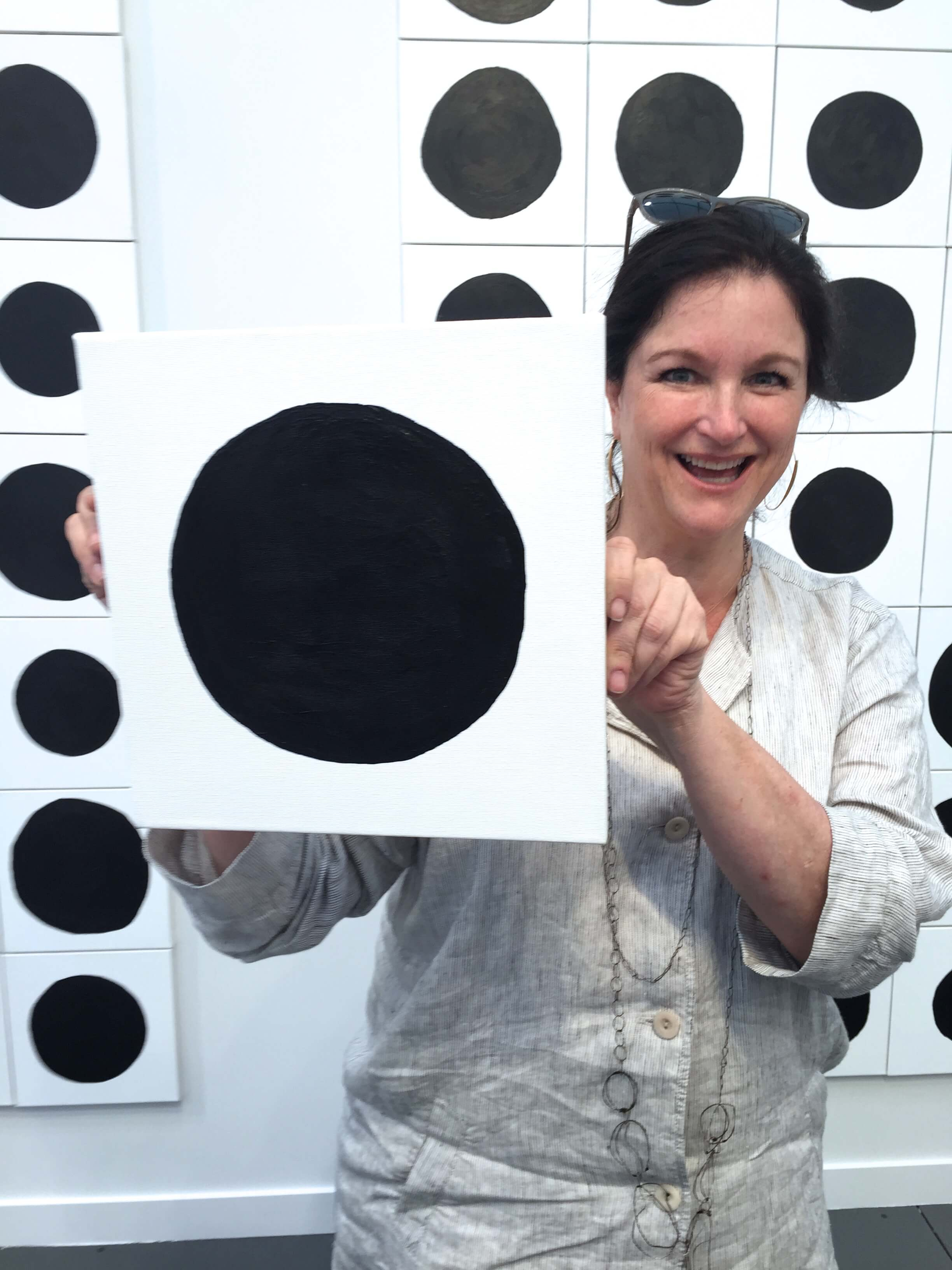 Lea Weingarten, principal of Weingarten Art Group, participates in Jonathan Horowitz's interactive installation as part of Frieze Art Fair New York 2015.