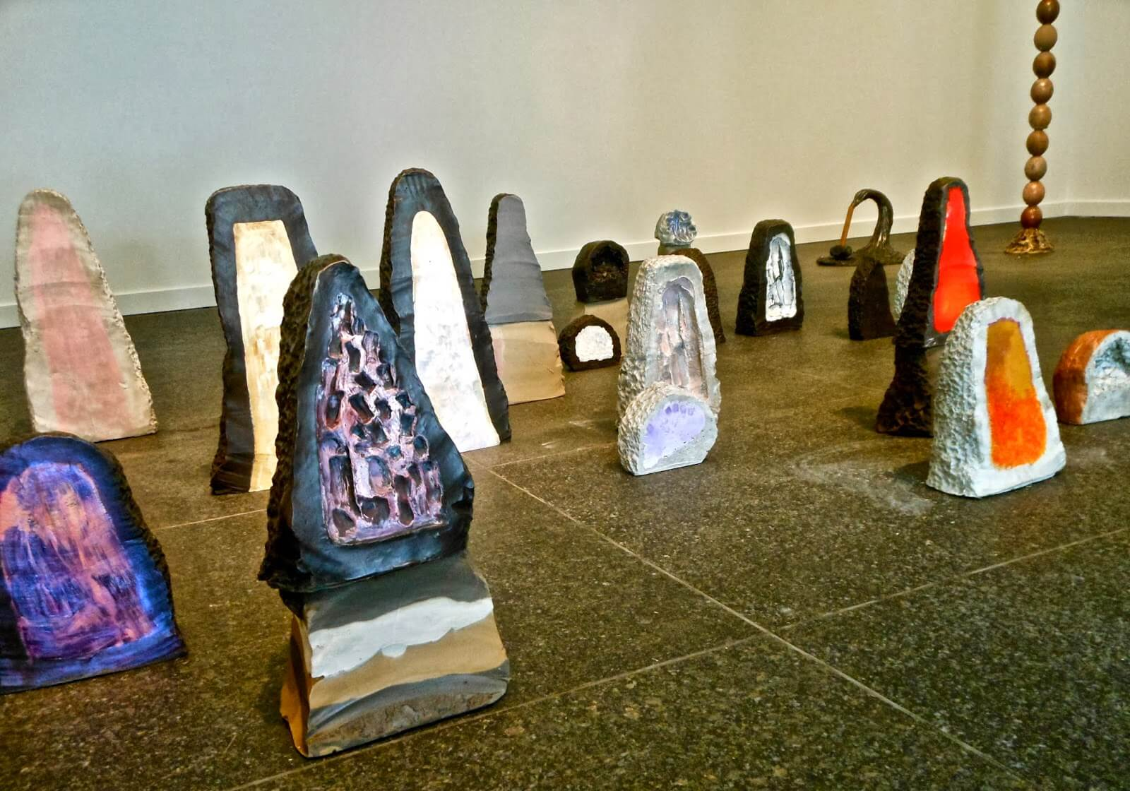 Erika Verzutti, Installation at 2013 Carnegie International, cast bronze and concrete with acrylic, 2013.