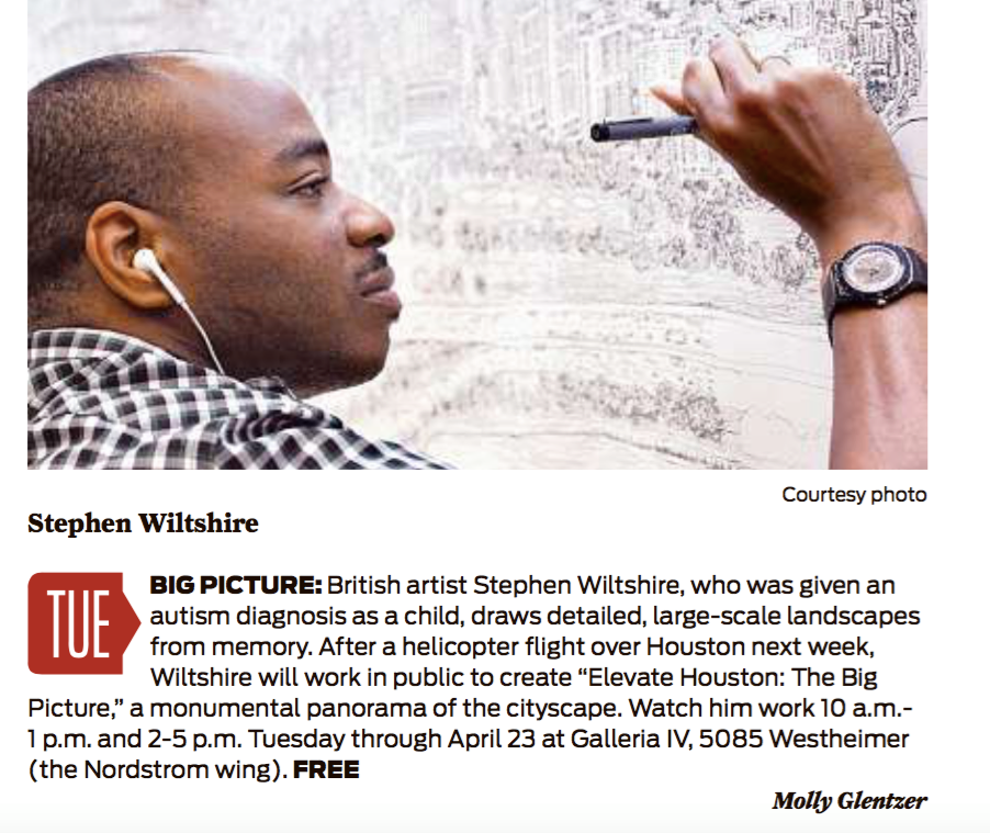Stephen Wiltshire Project, Houston, Houston Chronicle