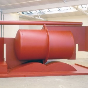 Anthony Caro, Aurora,  2000/2003, Steel, painted red, 265 x 523 x 308 cm