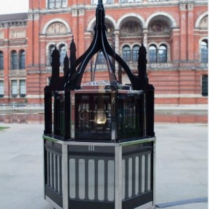 Matt Collishaw, Magic Lantern Small, 2010, Steel frame, glass, two-way, mirror, aluminium, LED lights and motor, 235 x 114 x 114 cm