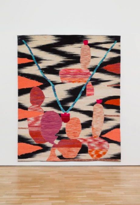 Yann Gerstberger Cotton yarn dyed with cochineal extract and synthetic dyes sewn on recycled vinyl banner