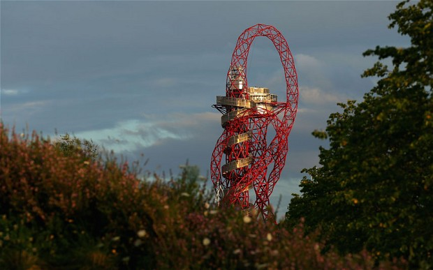 Anish Kapoor's giant Orbit tower, titled ArcelorMittal Orbit. Photo courtesy The Telegraph.