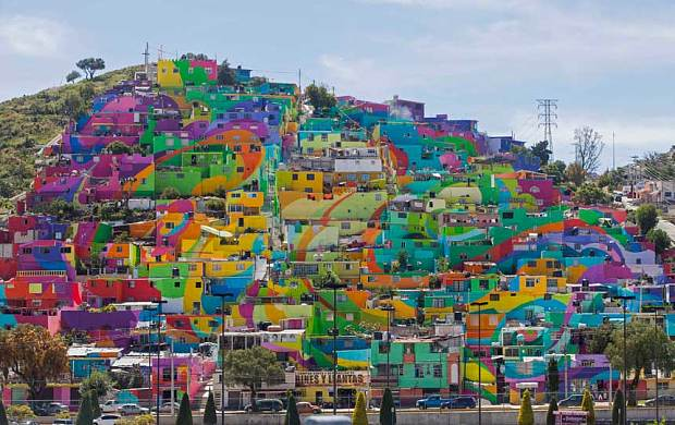 Spectacular vibrant hues paint Mexican town top to bottom